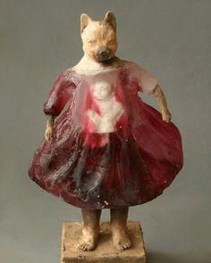Little Red Riding Hood, cast glass and ceramic,  #frieze_magazine #contemporarysculpture #beautifulbizarremagazine #hifructosemag #lowbrowpopsurrealist #juxtapoz #newcontemporary #art212bodrum