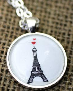 Love in Paris bronze or silver necklace