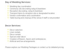 Partial services from a wedding planner, I think the most important and useful to get if you cant afford the works is the venue/s set-up decos/tables etc and tear down.  If needed as you could check if your venue provides these services.