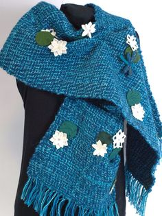 Blue handwoven wrap Water Lily wide scarfhand by LoomyBin on Etsy
