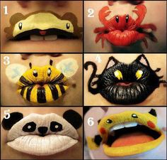 DIY Animal lips! Just get different colors of lipstick, an eye brow pencil ( or something ), and then... well, let's just say no matter how good you are at lip art, you'll probably need some help so you won't look like a lip monster..