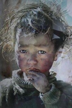 Enfants du Tibet ŒUVRES D'ART DE LIU YUN SHENG