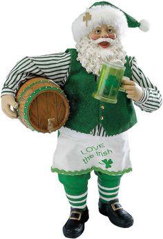 Kurt Adler 10 Fabrich Musical Irish Santa With Beer Barrel