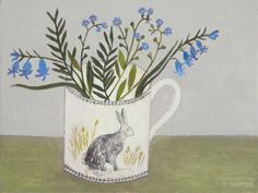 blue flowers in a rabbit mug Debbie George, Painter. Illustrations, Illustration Art, Naive Art, Hanging Pictures, Linocut Prints, Pretty Art, Mug Designs, Painting Inspiration, Flower Power
