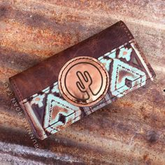 Turquoise Aztec Tri-Fold Ladies Wallet with Cactus Leather Patch by Running Roan Tack