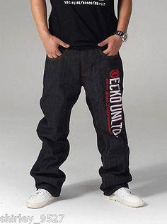 Nwt Mens HipHop Jeans Ecko Unltd Baggy Loose Denim Raw Hip-Hop Streetwear W30-42 in Clothing, Shoes & Accessories | eBay