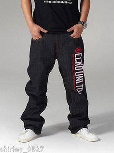 Nwt Mens HipHop Jeans Ecko Unltd Baggy Loose Denim Raw Hip-Hop Streetwear W30-42 in Clothing, Shoes & Accessories | eBay