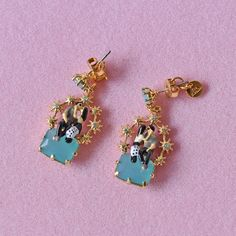 France Les Nereide Enamel Stud Earrings For Women Paris Lover Blue Gem Romantic Luxury Party Jewelry Wholesale Fashion Gift