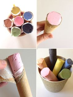 How to make homemade sidewalk chalk - paper tubes, plaster of paris and tempura paint {site is in Spanish but can be translated to English}