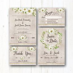 Daisy Wedding Invitation Suite - Rustic Wedding Daisies - Boho Wedding - Country Chic - Natural Barn Wood - Greenery - Garden Wedding - Barn
