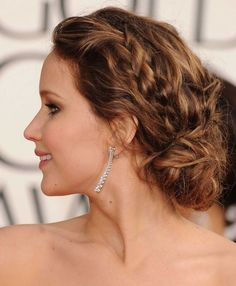 The ultimate bridal hair guide - Jennifer Lawrence and the braided updo.