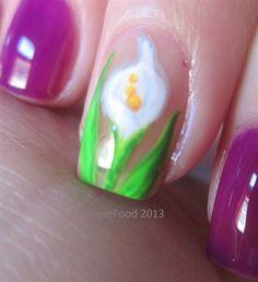 Calla Lily by fingerfood - Nail Art Gallery nailartgallery.nailsmag.com by Nails Magazine www.nailsmag.com #nailart