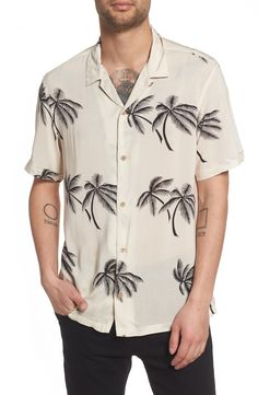 Allsaints offshore regular fit short sleeve sport shirt - A tropical palm tree print adds an eye-catching twist to a vintage-inspired sport shirt with street-ready appeal. #men #clothing #beach #shirt