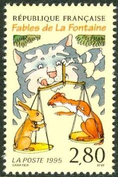 1995 cat on postage stamp : le chat, la belette et le petit lapin, fable de La Fontaine