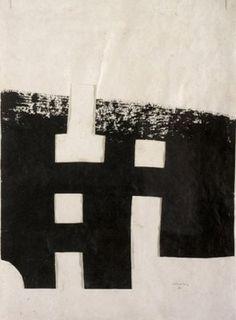 Eduardo Chillida Untitled, Ink and handmade paper collage with string. Kandinsky, Contemporary Abstract Art, Russian Art, Graphic Design Posters, Op Art, Sculpture, Fiber Art, Printmaking, Original Artwork
