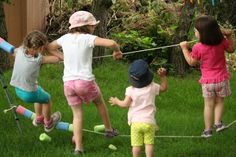 Fun with ropes!  Easy, inexpensive backyard idea provides hours and hours of fun.  Great for balance, gross motor function...