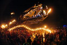 The Serpent Mother. Her metal skeleton stretches 168′ long, and she breathes fire. Her entire being is shot through with propane, which erupts into flame at forty-one distinct spots along her spine. The flames are controlled by audience participants. So is the hydraulic head, and jaws.  It was first seen at Burning Man. This is not at all surprising, for an art-fueled festival of bohemian debauchery held annually in the middle of the desert.