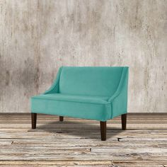 Made in USA. Complete your living room or any seating area with this unique loveseat.   Also used as a banquette bench, this comfy loveseat in classy in velvet upholstery.