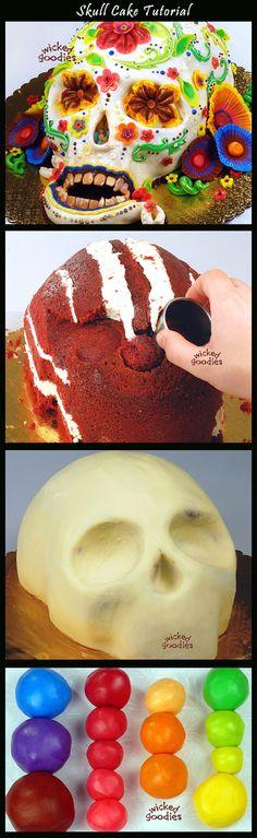Skull cake tutorial by Wicked Goodies