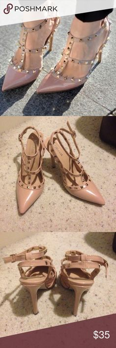 Brand New rockstud nude heels Size Euro 38. This is a brand new rockstud heels without box, i could throw a substitute box if you need one just let me know. Please look closely to the picture, i tried it on inside of my room that's why the bottom looks like that. Price is firm please, i just wanted to get what I paid for it. Thanks Shoes