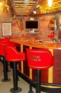 Firefighter Man Cave Bar for Firemen - This is one of the coolest man cave ideas: a Firefighter man cave for a Fireman! Being a firman is -