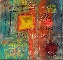 """Needle in the Hay by Bethany Handfield Encaustic, Mixed Media  Found Objects ~ 6"""" x 6"""""""