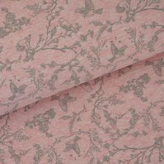 **Sweat kleine Vögel auf Zweigen Simona Meliert rosa** In 2 verschiedenen Farben meliert. Schön mit Vögelchen aber ganz dezent. Breite: ca. 150cm Material: 62% Baumwolle, 33% Polyester 5%...