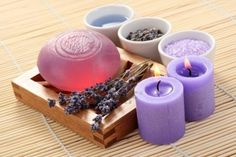 aromatic lavender bath - bath salt bar of soap and lavender flowers
