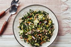 Kale Salad with Brussels Sprouts, Apples, and Hazelnuts / Photo by Chelsea Kyle, Prop Styling by Alex Brannian, Food Styling by Anna Hampton