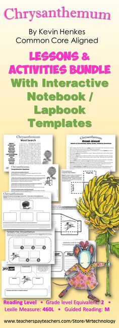 Chrysanthemum Lessons and Activities with Interactive Notebook Activities