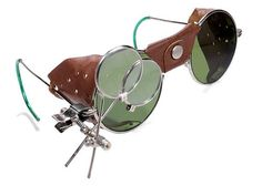 eb308f5c4f1 Steampunk Goggles Antique RARE AIRCO Steam Punk Glasses GREeN Steampunk  Goggles