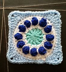 """Small Popcorn Circle Square - free crochet pattern by Tamika Joyeux. Measures 4"""" when using dk yarn and 4mm hook."""
