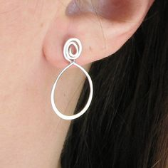 Sterling silver hoop earrings post with spiral by AdroitJewelers, $29.00
