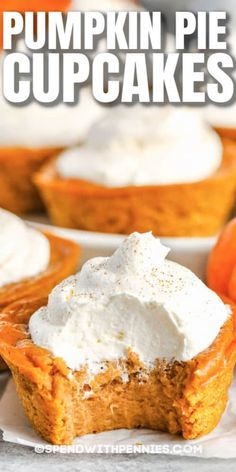 Make these mini or full-sized pumpkin pie cupcakes for a dessert treat that will be unforgettable. Moist and creamy, pumpkin pie cupcakes are sure to become a yearly fall tradition. #spendwithpennies #pumpkinpiecupcakes #dessert #recipe #creamy #moist #easy #best #crustless #mini Easy Pumpkin Bars, Best Pumpkin Pie, Mini Pumpkin Pies, Homemade Pumpkin Pie, Pumpkin Recipes, Pumpkin Pie Cupcakes, Pumpkin Chocolate Chip Cookies, Pumpkin Dessert, Pumpkin Cheesecake