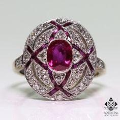 Antique Art Deco Platinum Ruby & Diamond Ring