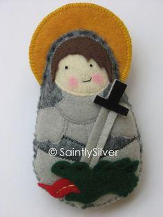 Saint George Felt Saint Softie by SaintlySilver on Etsy, $19.00-https://www.etsy.com/treasury/OTI3NDI1OXwyNzIxNzE2NDkx/back-into-time?ref=pr_treasury