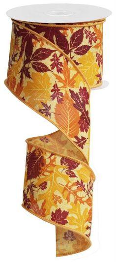 2.5 Fall Leaves Ribbon Autumn Ribbon by CustomWreathDecor on Etsy