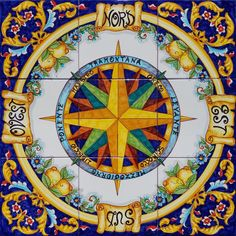 Mariners Compass, Tile Murals, Compass Rose, Painted Furniture, House Design, Texture, Airbrush, Painting, Fashion