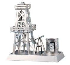 An ideal gift for Dads in the oil industry. #FathersDay #gifts #oil -- Oil Rig Clock – Silver.