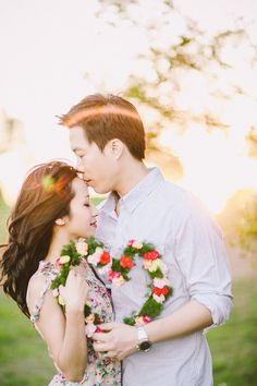 Heart shaped flower wreath // Anniversary Shoot with the Softest, Dreamiest Light: Harry + Amy