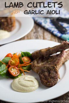Greek Lamb Cutlets with Garlic Aioli Becomingness Turkish Recipes, Greek Recipes, Whole Food Recipes, Lamb Dishes, Beef Dishes, Healthy Lamb Recipes, Marinated Lamb, Easy To Cook Meals, Garlic Aioli