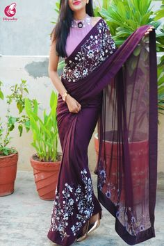 Buy Wine Pure Silk Chiffon Sequins Pearl Handwork Saree by Colorauction - Online shopping for Sarees in India Saree Blouse Neck Designs, Fancy Blouse Designs, Saree Blouse Patterns, Kurta Designs, Saree Designs Party Wear, Cutwork Saree, Latest Silk Sarees, Saree Floral, Online Shopping Sarees