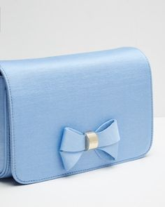 Bow detail clutch bag - Powder Blue | Bags | Ted Baker UK