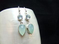 Blue Topaz and Aqua Chalcedony Sterling Silver Earrings by WelshHillsJewellery on Etsy