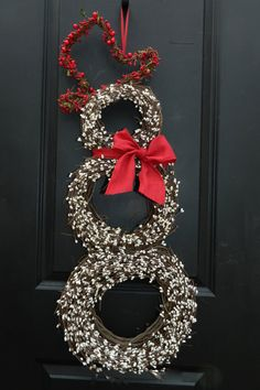 Christmas  Wreath - Snowmen Wreath - Snowman Wreath - Choose Scarf - Small or Large