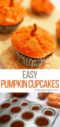 This method of decorating pumpkin cupcakes is SO EASY! Make them in a few different sizes and you'll end up with your very own cupcake pumpkin patch. I love decorating methods that are easy, quick and totally doable for beginners! Cupcake Recipes, Dessert Recipes, Homemade Apple Butter, Amazing Food Art, Tasty, Yummy Food, Pumpkin Cupcakes, Fall Desserts, Pumpkin Decorating