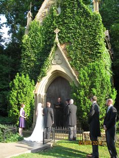 Outside wedding before an ivy-covered church... sigh