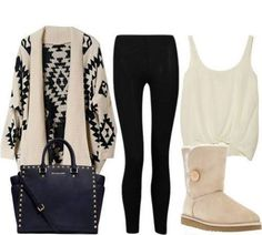 winter outfit leggins ugg boots patterned sweater black white
