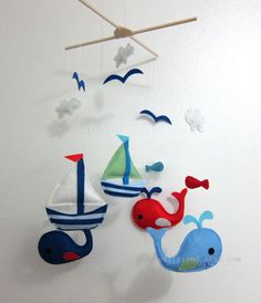 Baby Mobile  whale and sailboat baby crib mobile  door lovelyfriend, $78.00