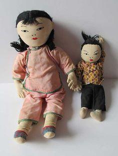 ASIAN DOLLS Girl and Boy Cloth Rag Dolls by TransferofTreasures, $38.50